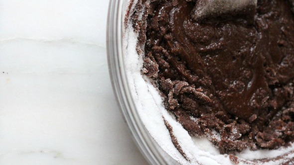 brownie batter mixing