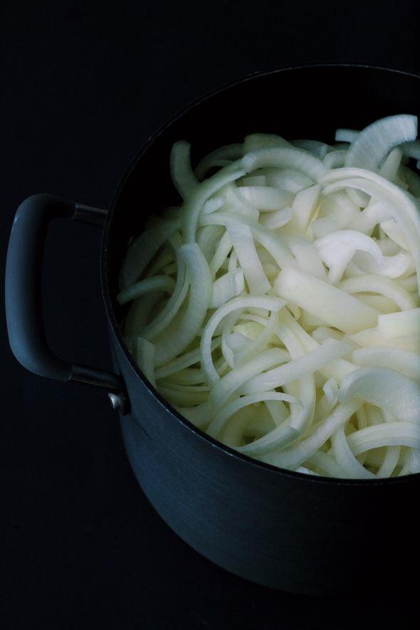 onions, sliced