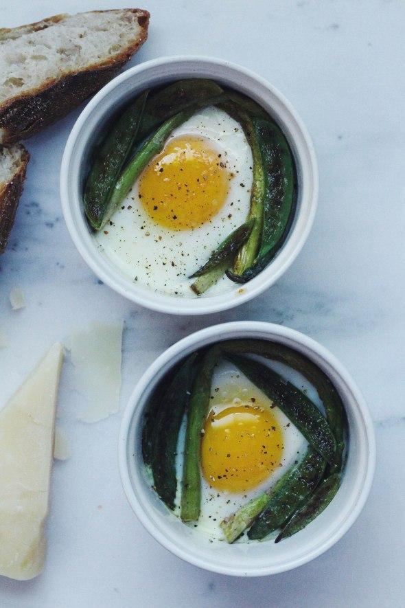 Baked Eggs with Snap Peas & Asaragus