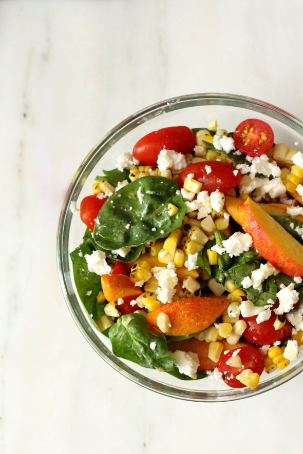 tomato, nectarine and corn salad