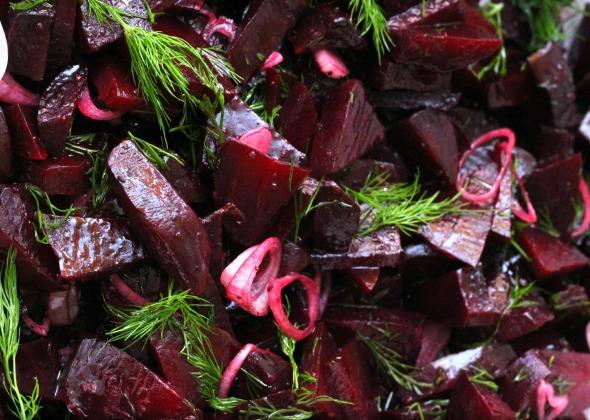 beet, shallot + dill salad