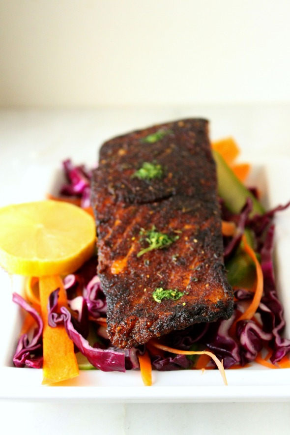 blackened salmon with parsley powder and purple cabbage slaw