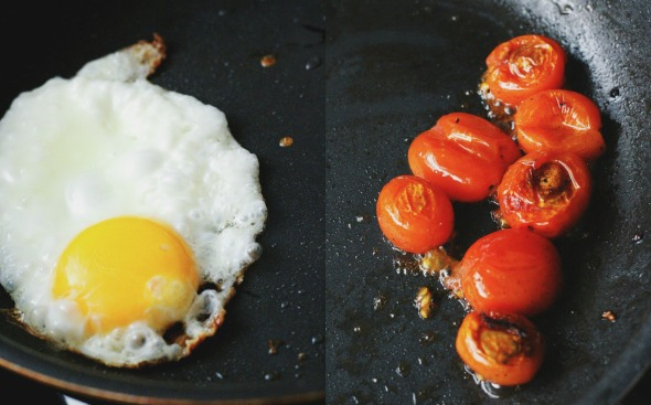 frying egg + burst cherry tomatoes