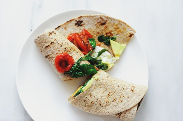 egg and vegetable breakfast wrap