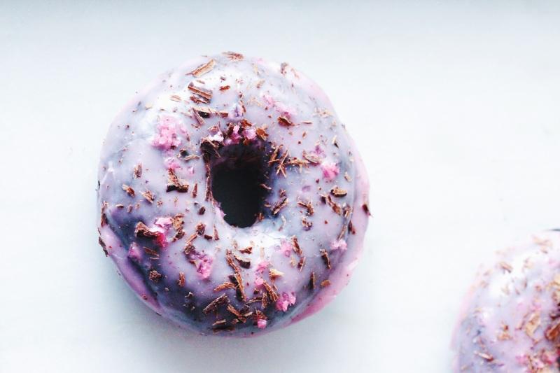 Double Chocolate Donuts with Raspberry Glaze & Pomegranate Salt