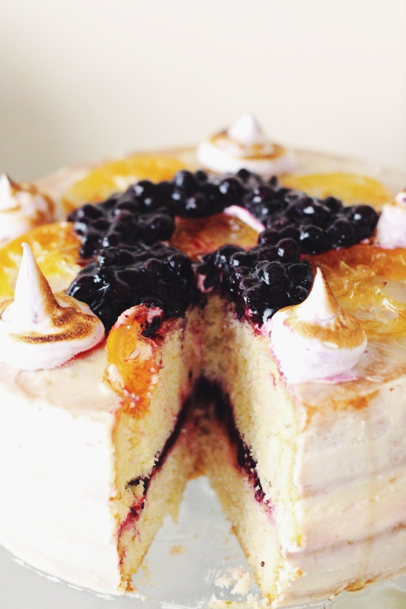candied lemon and blueberry cake