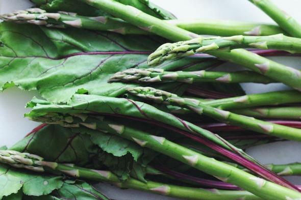 asparagus + beet greens