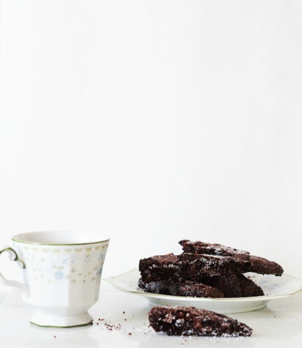 triple chocolate almond biscotti