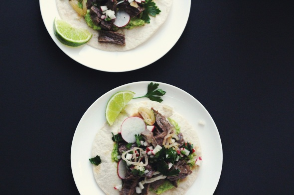 steak tacos with radish salsa and lime