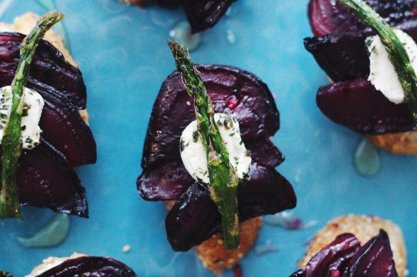 Honeyed Asparagus, Beet & Chevre Crostini