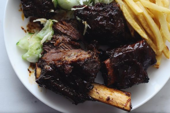 Bourbon BBQ Beef Ribs with Cucumber Vinegar Slaw