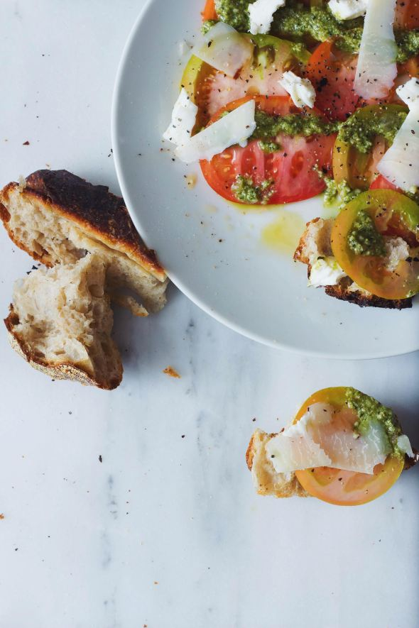 Heirloom Tomatoes with Chili Oil, Pesto & Mozzarella