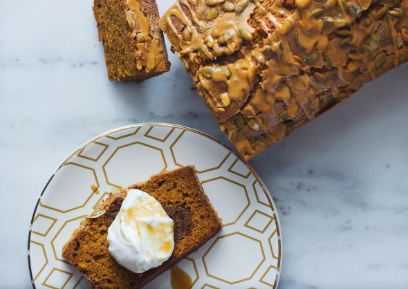 Pumpkin Pepita Bread with Espresso Icing