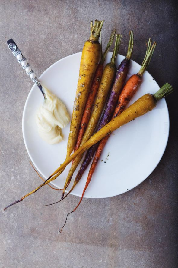 Za'atar and Honey Roasted Carrots with Cumin Aioli