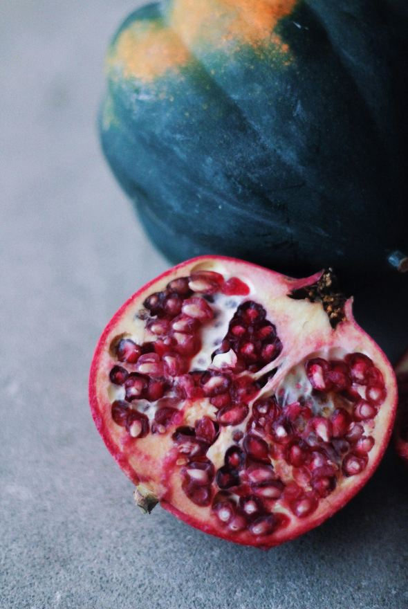 Acorn Squash, Pomegranate and Kale Salad