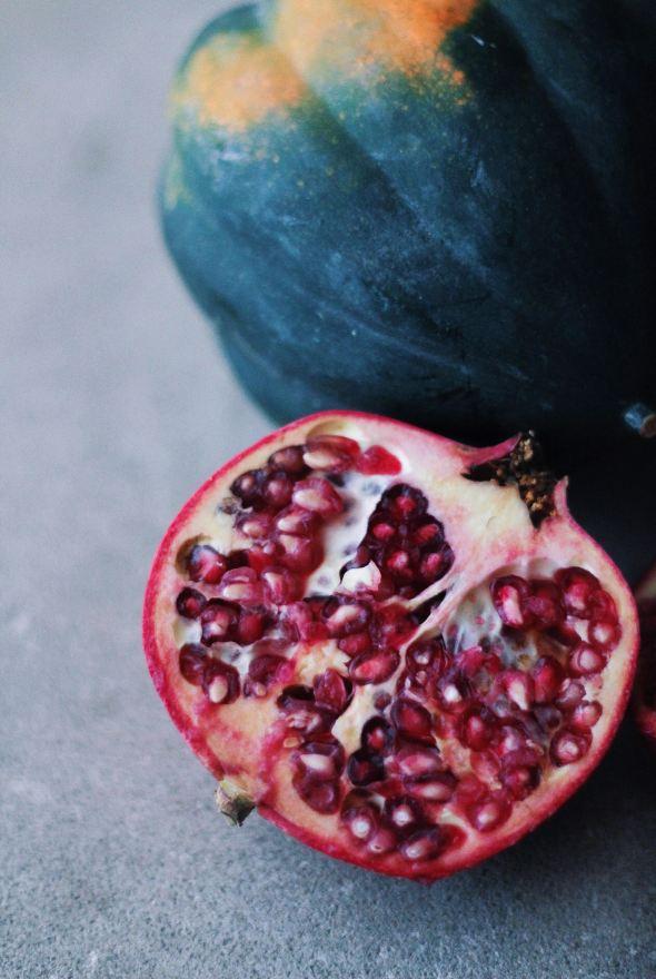 Acorn Squash, Pomegranate and Kale Salad