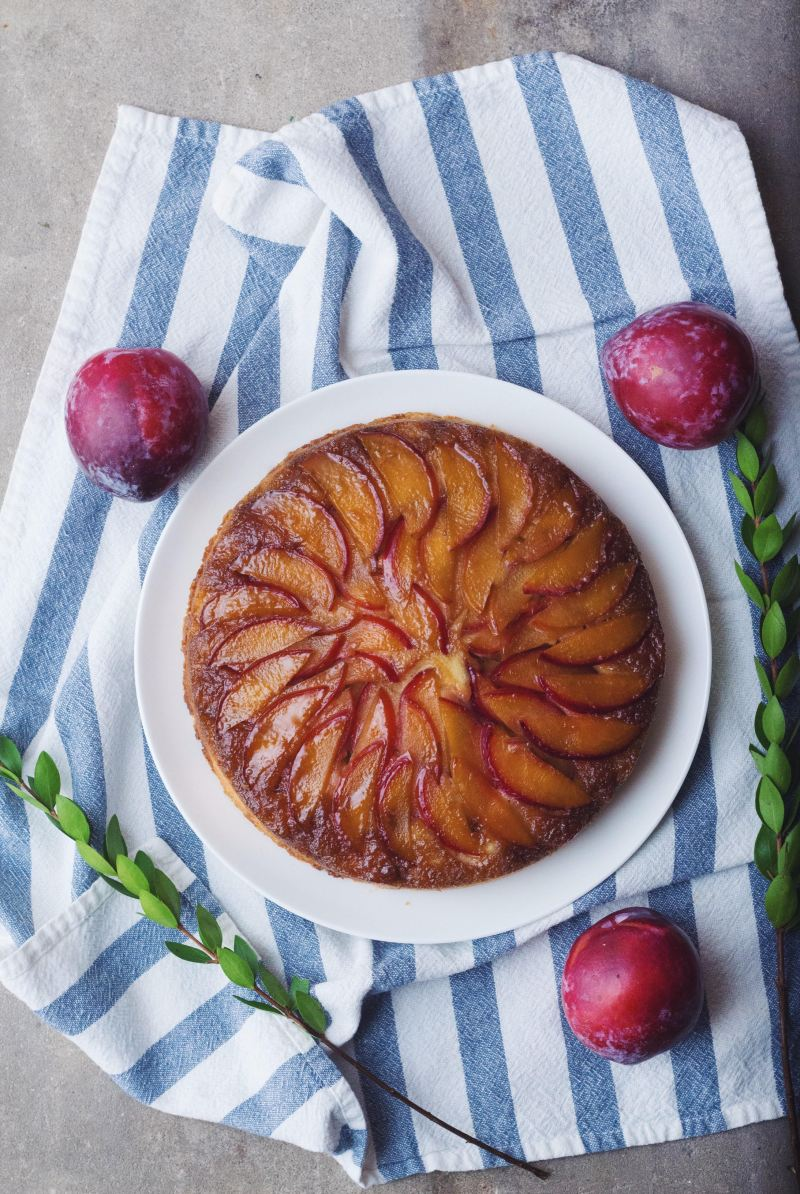 Maple Plum Upside Down Cake