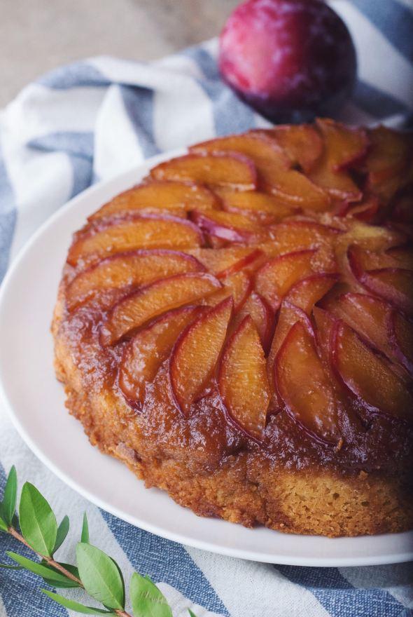 Maple Plum Upside Down Cake