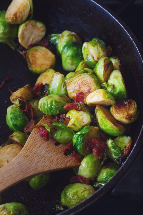 Sauteed Brussels Sprouts with Beef Bacon