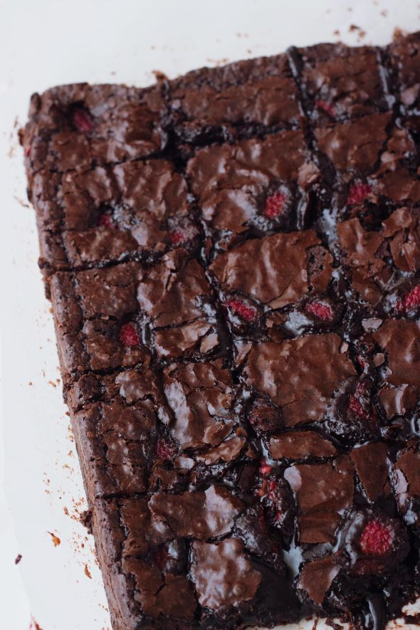 raspberry studded brownies