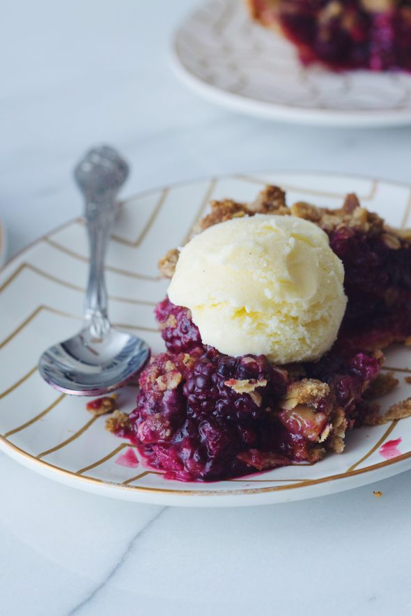Blackberry Pie with Rye Walnut Crumble