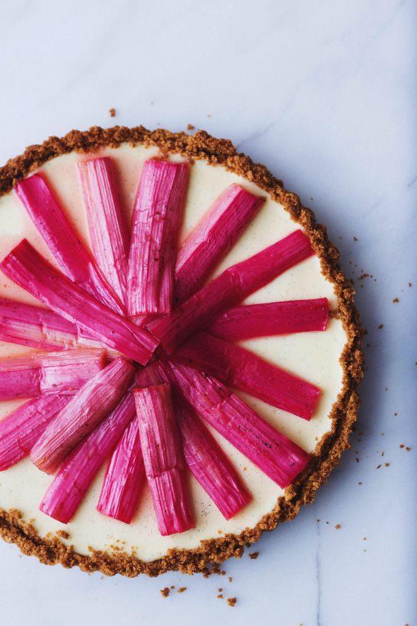 Vanilla Bean Cheesecake Tart with Roasted Rhubarb