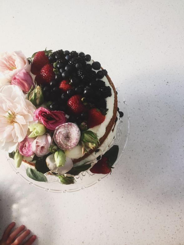 Berries and Cream Sponge Layer Cake