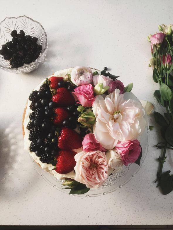 Berries and Cream Sponge Layer Cake