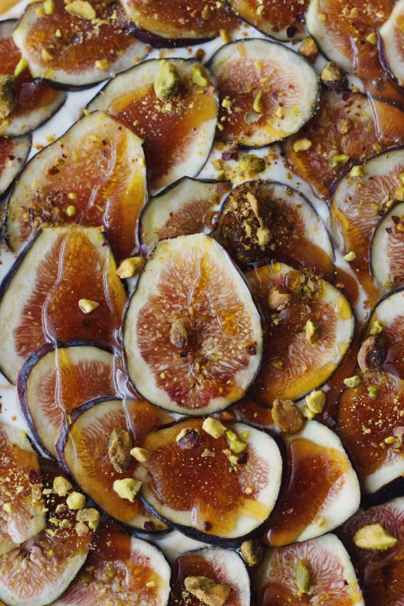Labneh Mousse and Olive Oil Tart with Cardamom Figs