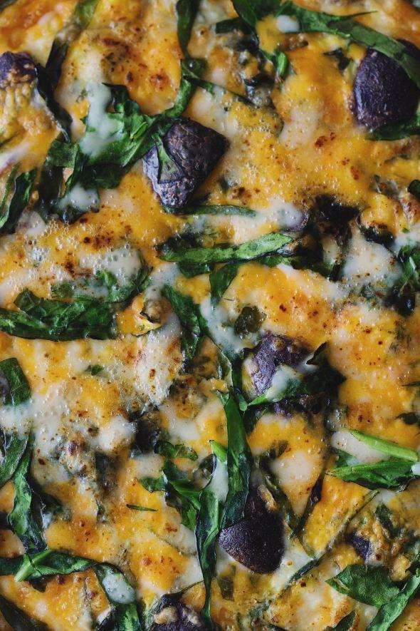 Purple Potato, Cheddar and Spinach Frittata