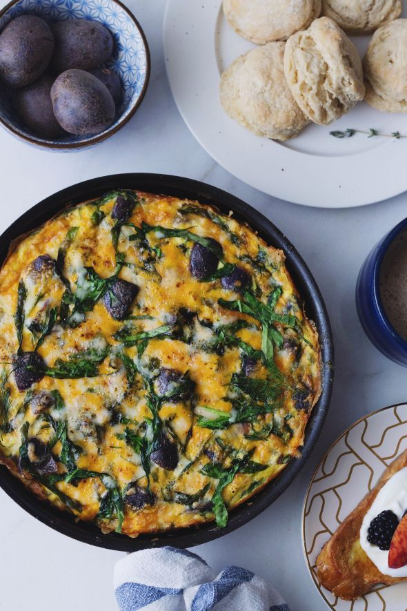 Purple Potato, Cheddar and Spinach Frittata