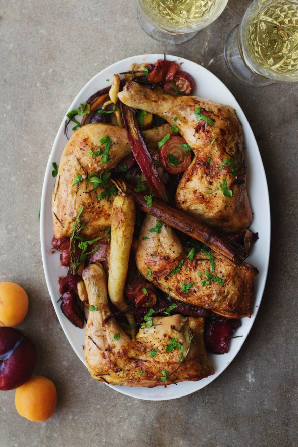 Moroccan Saffron and White Wine Tzimmes Chicken
