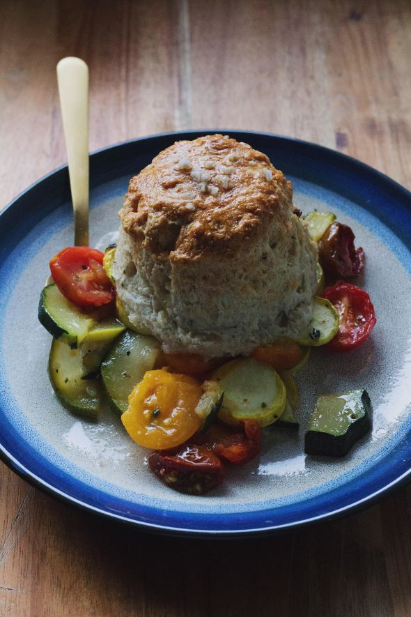 Tomato & Zucchini Cobbler with Gruyere and Thyme Biscuits