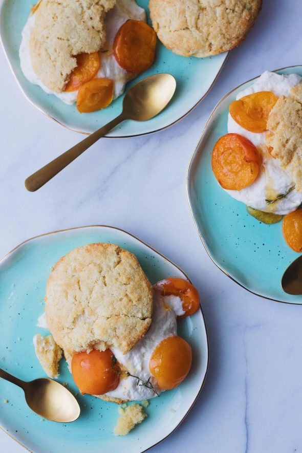 Cornmeal Almond Shortcakes with Roasted Apricots & Whipped Ricotta