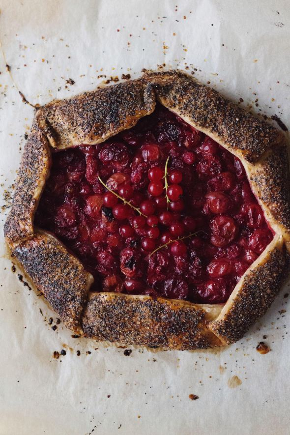 Sour Cherry, Red Currant, Rye and Poppy Galette