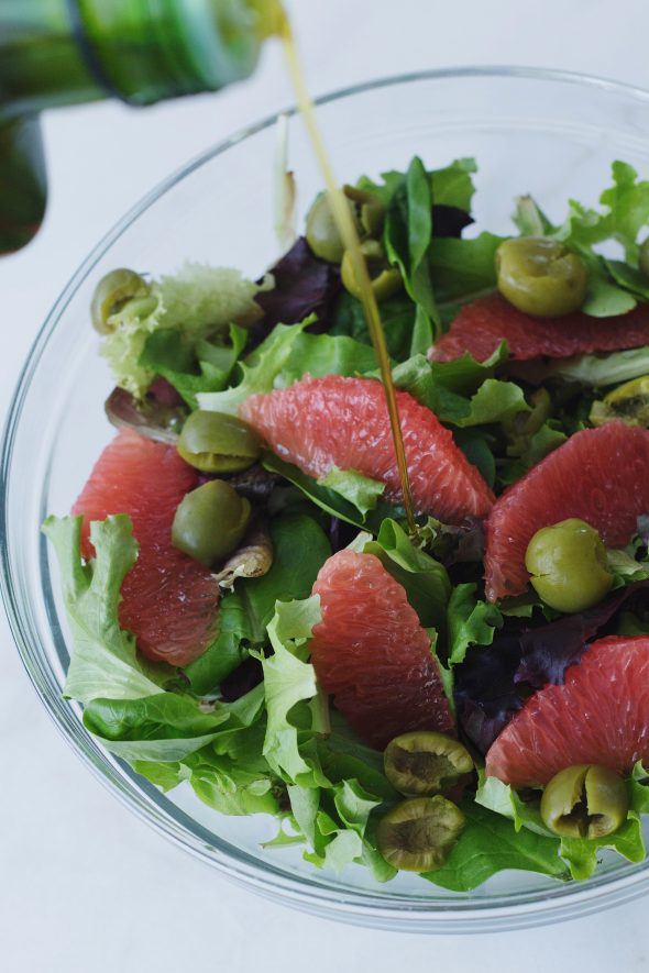 Greens with Grapefruit, Olives and Parmesan