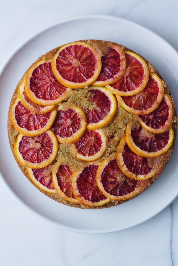 Upside Down Blood Orange, Saffron and Semolina Cake
