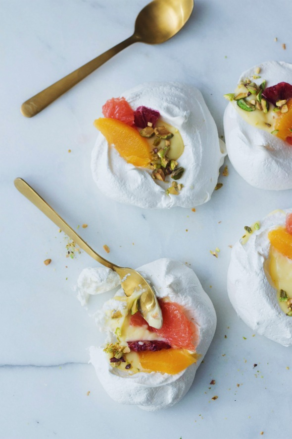 Pavlovas with Lemon Curd & Citrus