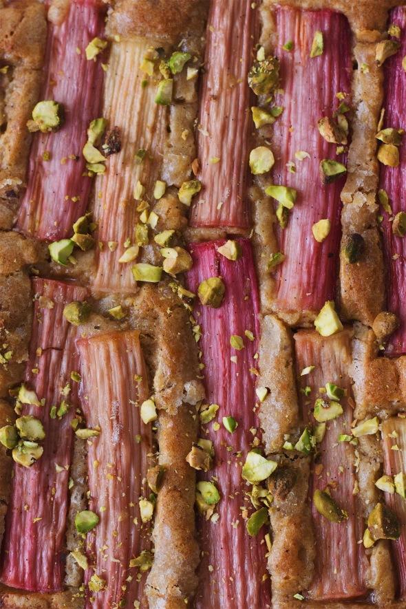 Spelt and Pistachio Rhubarb Cake
