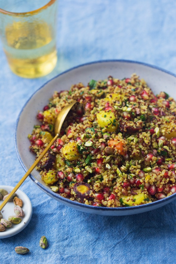 Herby Quinoa with Carrots, Pomegranate and Pistachios